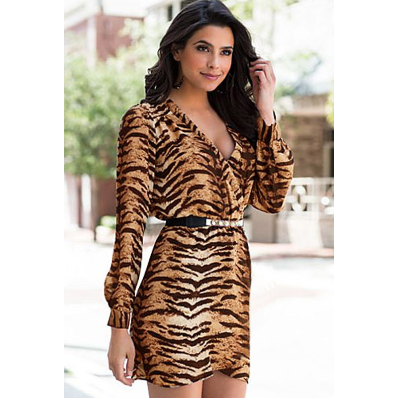 2015 Party Dresses Tropical High-end Women's Long-sleeved Low-cut Leopard Shall Cross V -neck Package Hip Fashion Elegant Dress(China (Mainland))