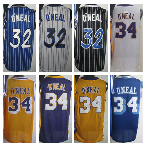 Los Angeles #34 Shaquille O'Neal Jersey Throwback Orlando Shaquille O Neal Basketball Jerseys Black Blue Purple Yellow White(China (Mainland))