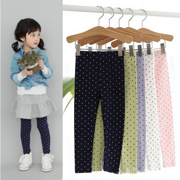 New Fashion Kid Toddler Baby Gilrs Polka Dot Soft  School Stretch Pant Trousers Leggings 2-8Y Free& Drop Shipping