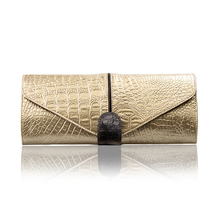 2015 New Women Envelope Clutch Bag Genuine Leather Evening Bags Fashion Shoulder Bags with Alligator Crocodile Pattern HB-301