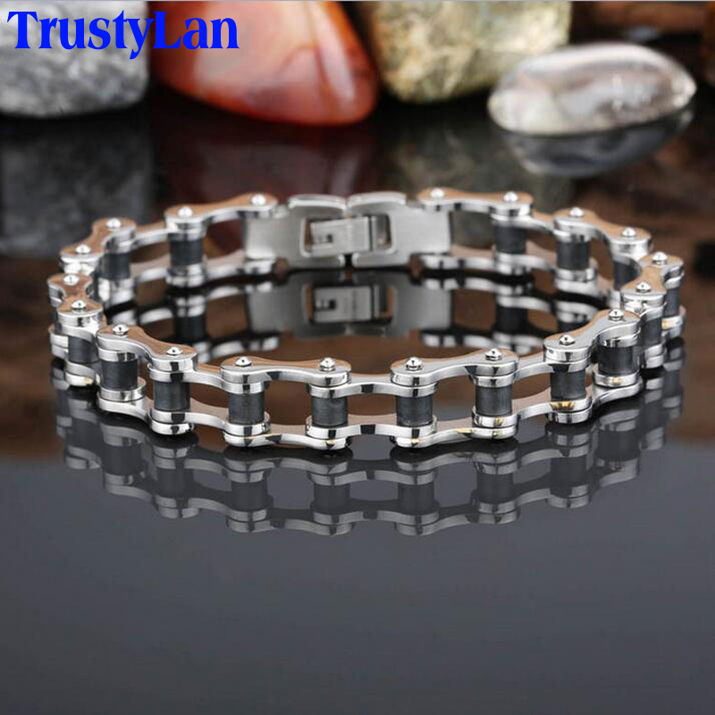 TrustyLan Punk Biker Jewelry Stainless Steel Men's Bracelets Fashion Bicycle Chain Bracelet Bracelete Mens Bangles Wristband - 168 store