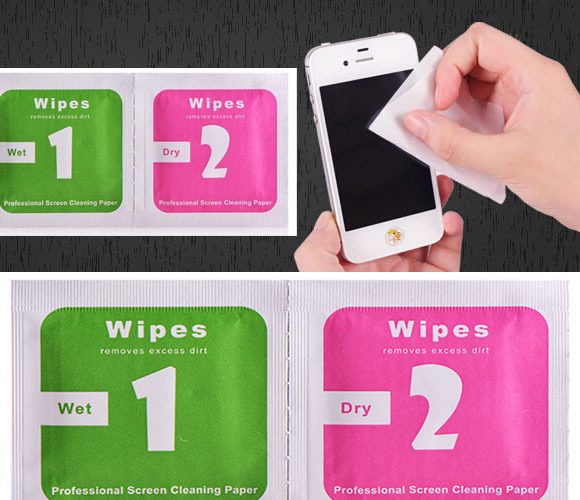 10 sets/lot 1+2 Mobile Phone Film Tools Stick Wet Dry Screen Wipes Alcohol Package Film Dedicated For iPhone 6 Plus Samsung iPad(China (Mainland))