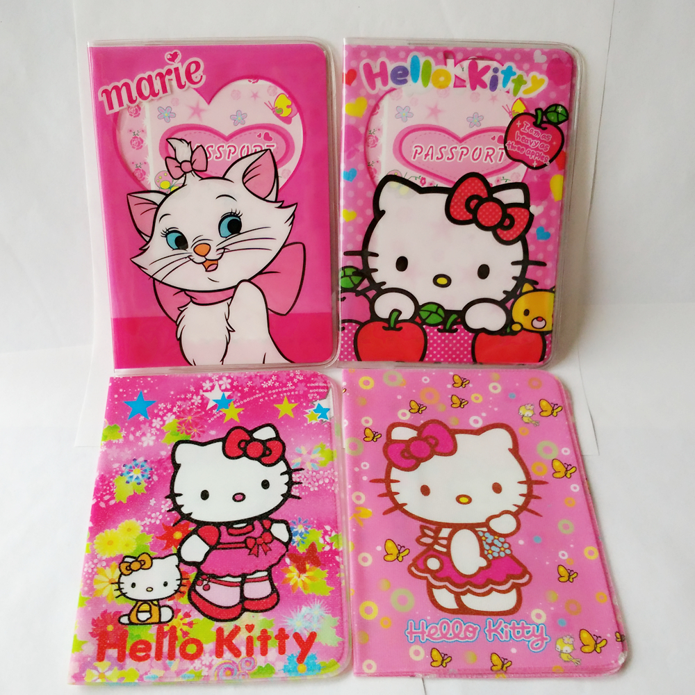 Cartoon HELLO KITTY Passport Cover, PVC Leather cover for passport with card, 14*9.6CM Travel Passport Holder<br><br>Aliexpress