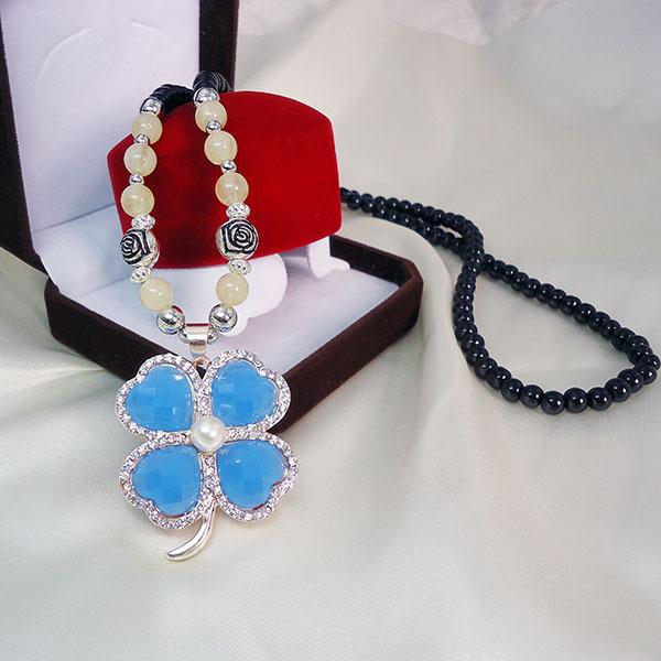 Blue Clover sweater chain heart Imitation pearls Lucky grass black Wear beads statement necklace women jewelry bijoux femme(China (Mainland))