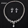 XIAGAO Stunning Marquise Cubic Zirconia Necklace Earrings High Quality Wedding Jewelry Sets With White Gold Plated