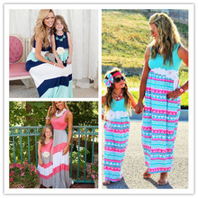 Mommy and Me  Matching Dresses 2016 Summer Mother and Daughter Girls Matching Outfits Chervon Dress Family Matching Clothes