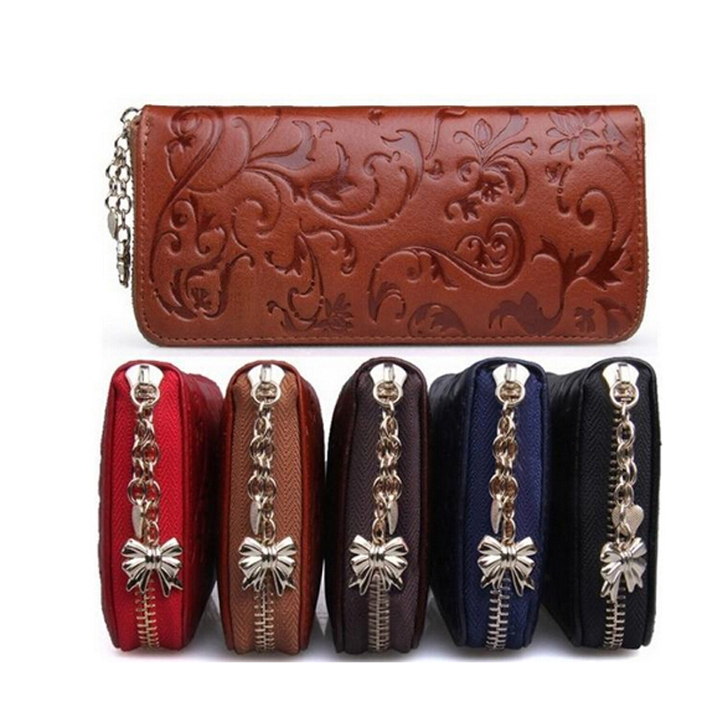 New Fashion Vintage Genuine Leather Wallets Long Women Clutch Embossing Wallet Ladies' Retro Purse Money Clips Card & ID Holder