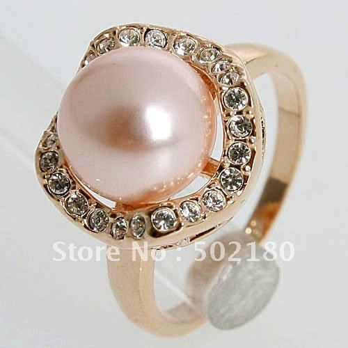 New Arrival 1.4CT Clear Crystal 11mm*11mm Pink Imitation Pearl 18K Gold Plated Ring 95108 Free Shipping