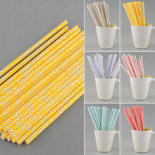 New Hot Environmental 25 PCS Chevron Striped Paper Drinking Straws For Wedding Birthday Bar/Pub Supply