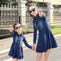 Parent child Outfit Spring 2016 Long Sleeve Skirt Cowboy Jeans Dress mother and daughter clothes Cultivate