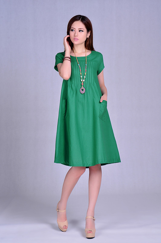 2015 fashion women clothing summer plus size loose fold long short-sleeved temperament dress casual linen cotton dresses female(China (Mainland))