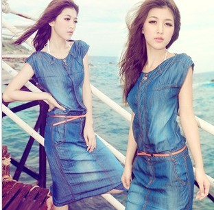 New fashion women vintage jeans dress,female casual OL slim summer dress Party Stylish ladies denim Dresses Size:S-XL