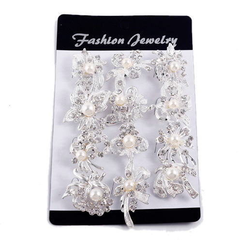 cheap Fashion Jewelry silver Plated Different Design Flower Brooch Pins women Pearl crystal Wedding brooches 12psc/lot(China (Mainland))