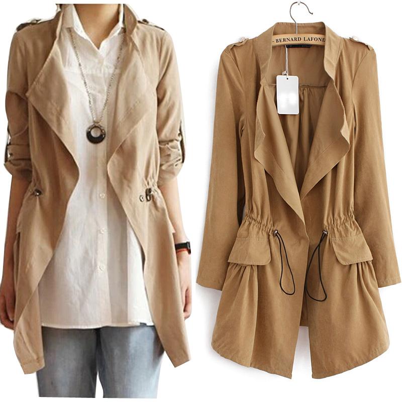 2015 Spring Autumn European Style Fashion Lady's Plus Size Slim Thin Waistcoat Women Coat New Loose Thin Trench For Women(China (Mainland))