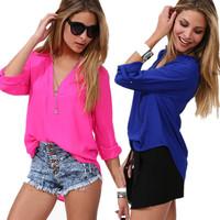 2014 fashion sheer blouses blusas casual shirt  Women long-sleeve shirt chiffon blouse