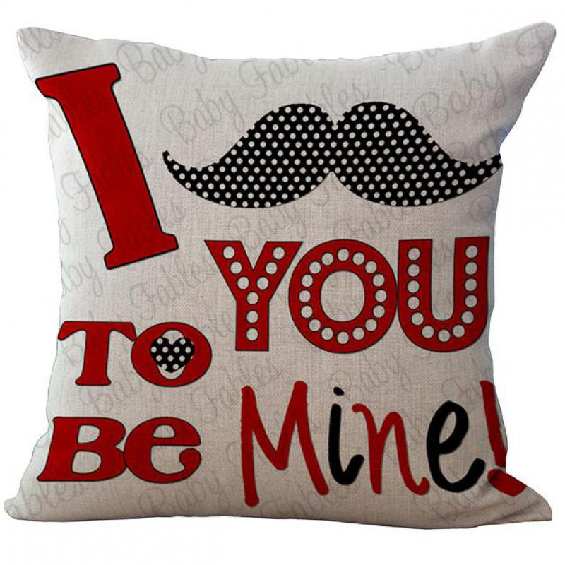 2016 New Design Lover Heart Shaped Pattern Linen Throw Pillow Case Home Bedside Back Cushion Cover