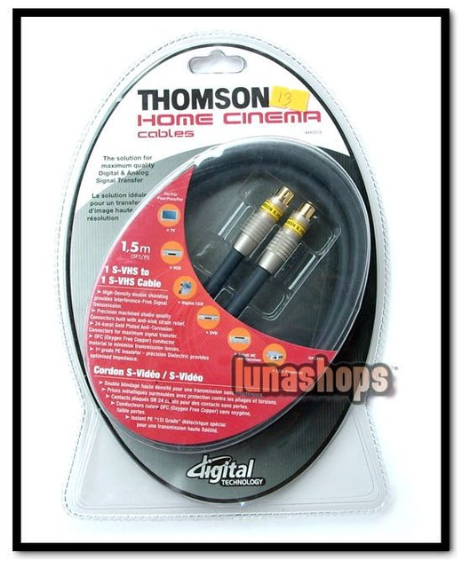Thomson Home Cinema S-video S-VHS 4 pin Male To Male Adapter Cable