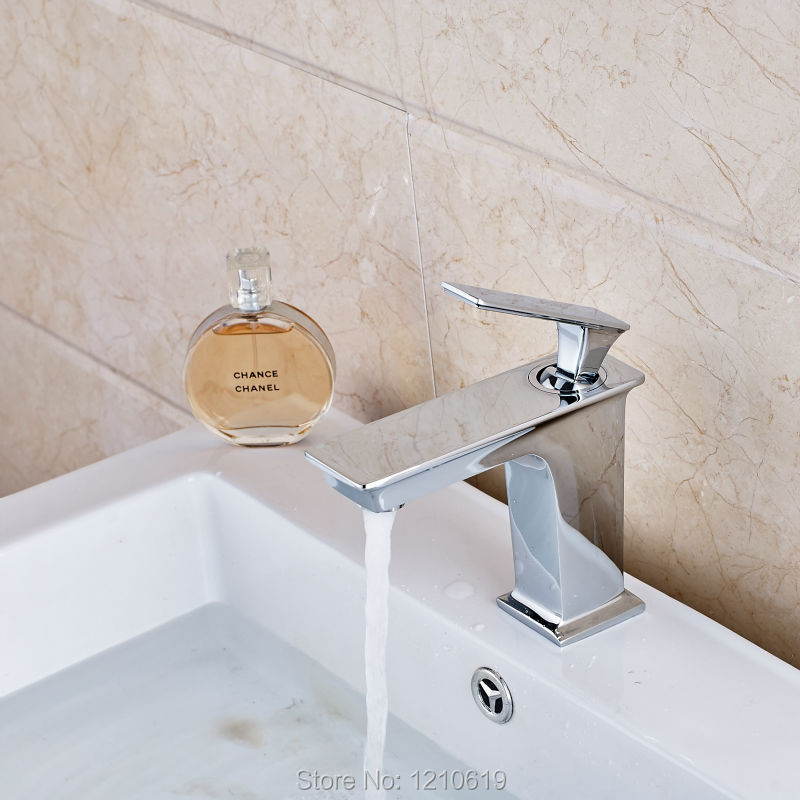 Фотография Newly Chrome Plate Bathroom Sink Faucet Mixer Tap Single Handle Single Hole Basin Faucet Deck Mounted