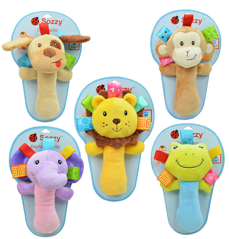 Hot infant animal hand bell baby Rattles plush stuffed toy children mobiles sounding educational handbell 5 choice free shipping(China (Mainland))