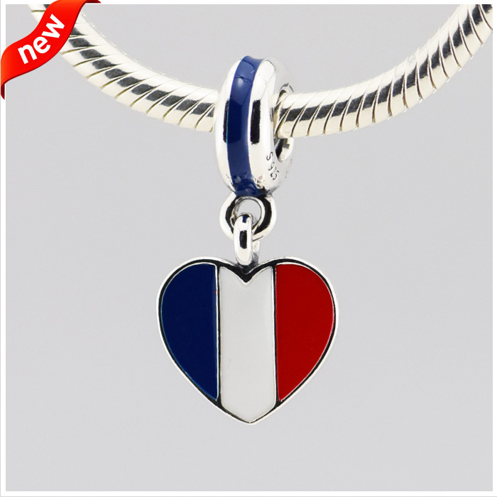 Fits Pandora Jewelry Bracelets 100% 925 Sterling Silver Beads France heart flag silver dangle with blue white and red enamel DIY(China (Mainland))