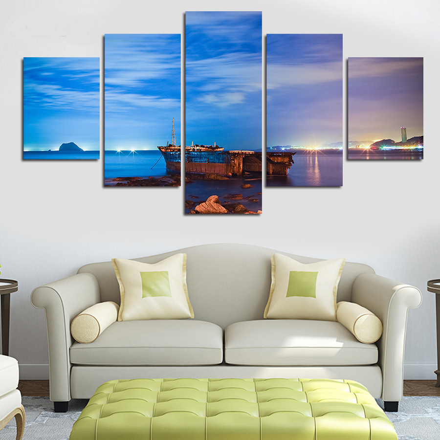 2016 top fashion fallout unframed 5 panels ocean landscape for Fallout 4 canvas painting