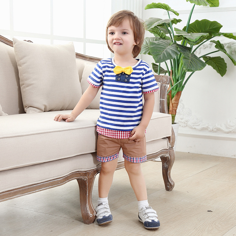 kids clothing 2016 summer new baby boy clothes cheap infant clothing bule striped cotton suit for children saia two sets(China (Mainland))