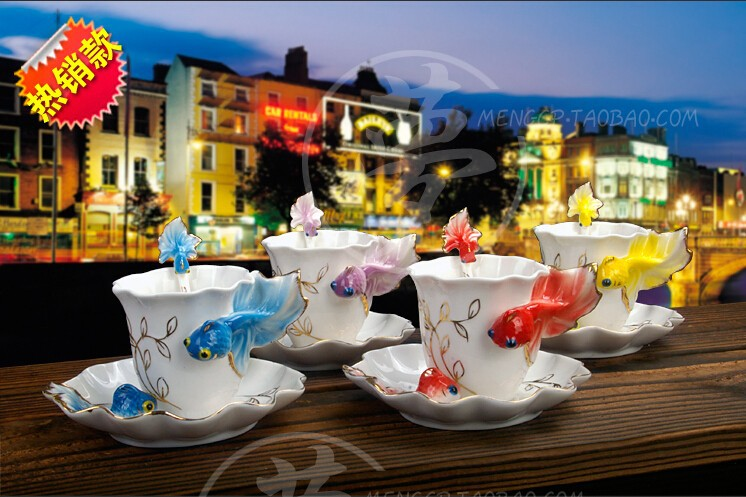 Buy Hot !enamel porcelain tea cup ceramic goldfish creative mug Chinese ceramic tea set painted fashion coffee cup cheap