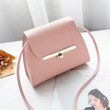 Simples Aba bolsa de Ombro PU Bolsas De Couro Das Mulheres Meninas Pure Color Mini Messenger Bag Peito corpo Cruz Bolsas bolsa feminina(China)