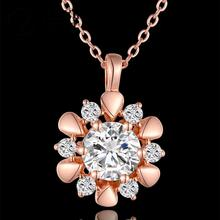 N848 Charming Women Necklace Party 18K Gold Plated Flower Austrian Crystal Pendant Necklace Jewlery Vintage Statement