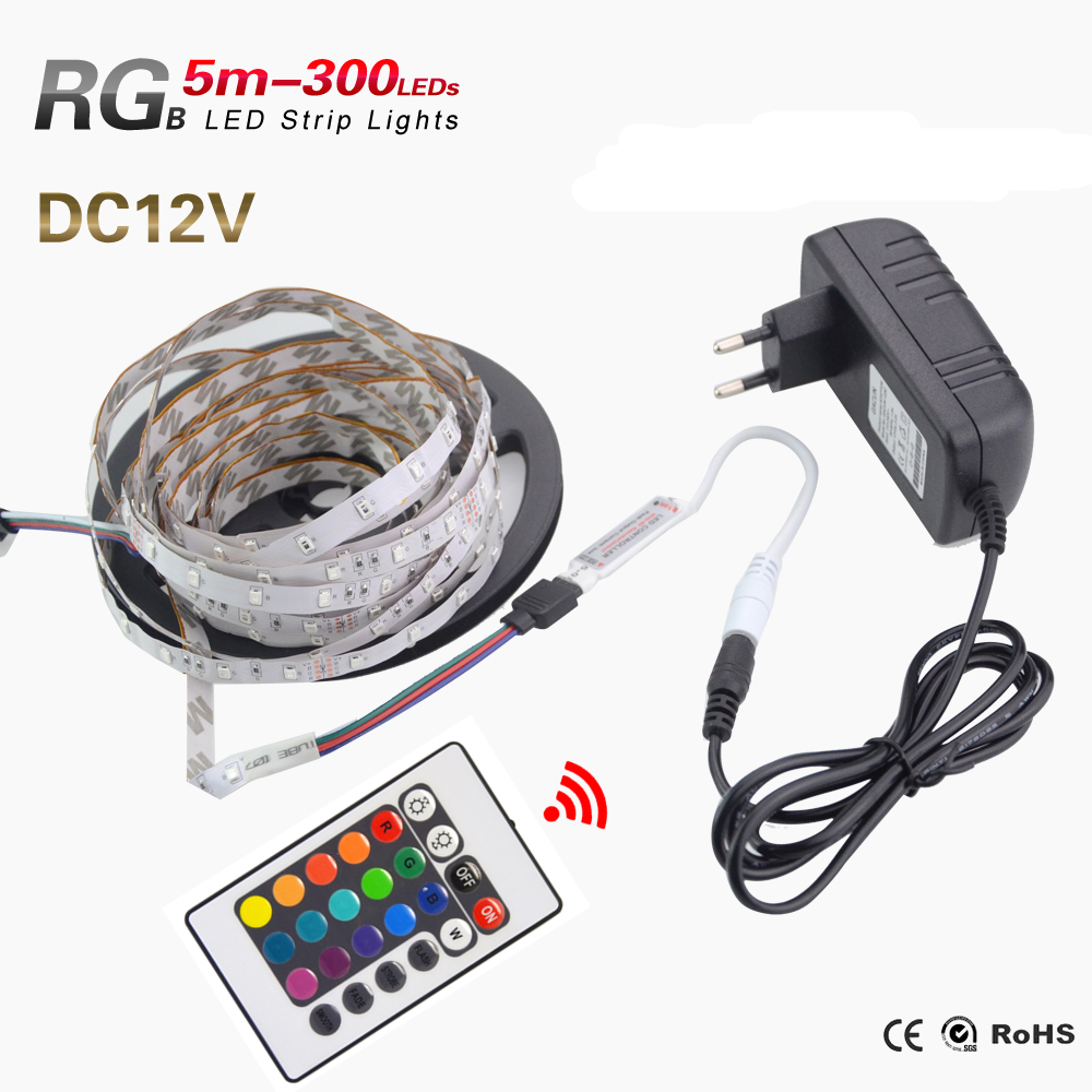 5M/Bag 2835 RGB LED Strip Set 300Leds Lighting add 3A Power Supply add Remote Controller for Home LED Lighting Garland Lights(China (Mainland))