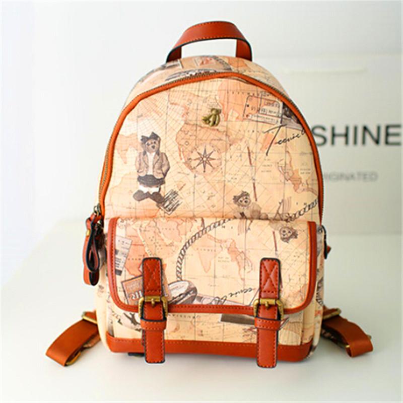2015fashion  lady satchel backpack  New Female Student  backpack Korean tide wind tide college leisure graffiti bag