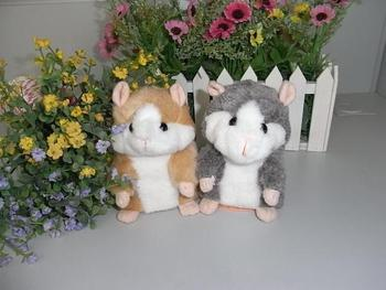 Wholesale 5 piece Pet Talking Hamster and moving Hamster talking plush Toy,repeat any language--Brown,Grey Color