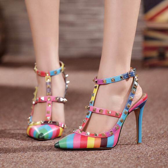 Autumn Spring Lady Pumps High Heel Sandals Women Fashion brand shoes Woman Pointed Toe T-strap Buckle Rivets Multicolor Shoes<br><br>Aliexpress