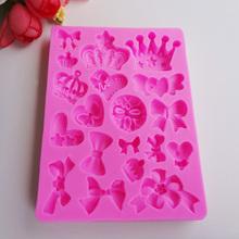 M198 3D Various Crowns&Bows Shape Silicone Mold Fondant Mold Chocolate Sugar Lace Mold(China (Mainland))