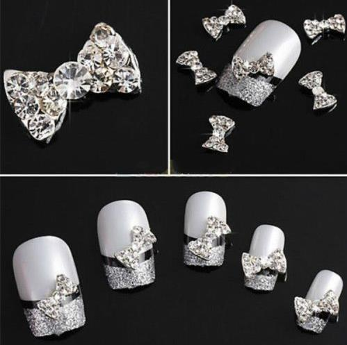 Brand New 10Pcs 3D Clear Alloy Rhinestone Bow Tie Nail Art Slices Diy Decorations(China (Mainland))