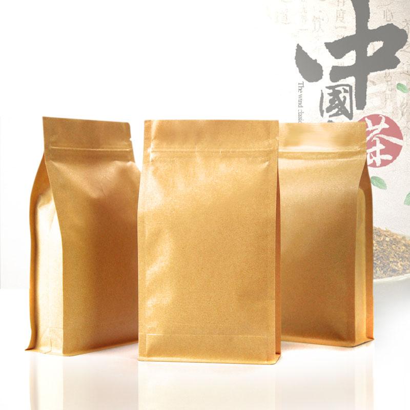 50pcs/Lot 10cm*20cm+6cm Bottom *140Mciron Kraft Paper Zip Lock Organ Bags Tea Packaging Pouch And Bags Wholesale(China (Mainland))