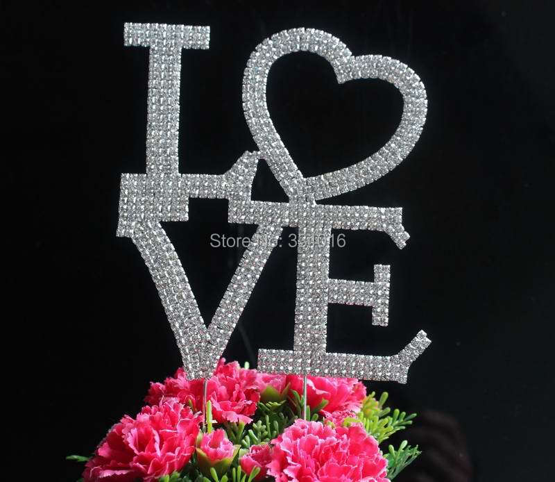 BLING INITIAL Large Diamante Rhinestone Crystal Letter LOVE Cake Toppers For Wedding Party ...