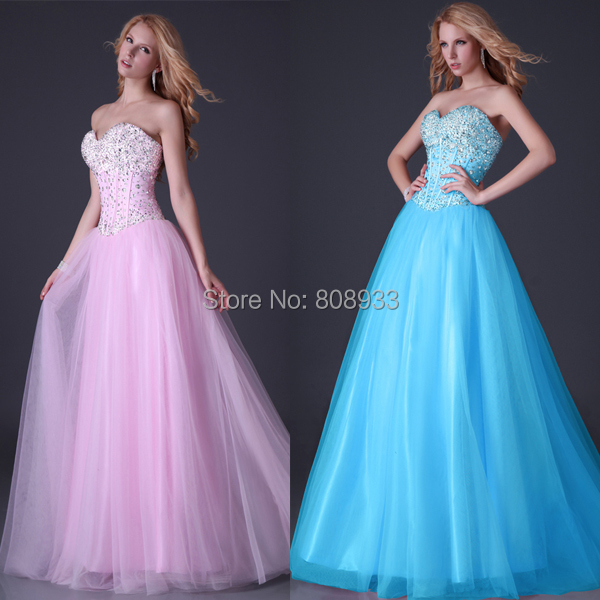New Arrival Grace Karin Sexy Strapless Corset-style White Pink Blue Long Prom Dresses With Beadings Sequins Evening Dress 3519(China (Mainland))