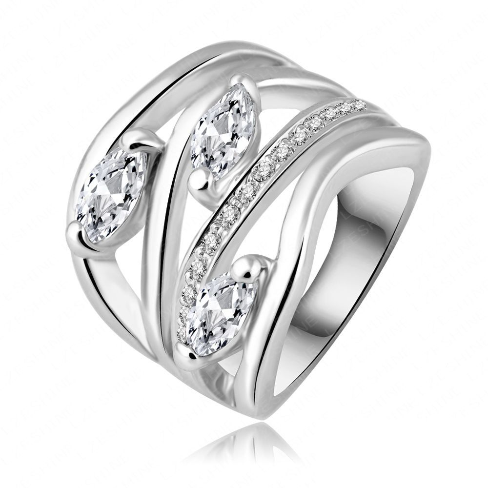 fashion brand ring real 18k white gold plated zircon wide