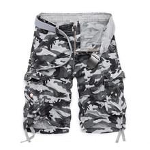 2019 nowy kamuflaż luźne szorty Cargo mężczyźni fajne letnie wojskowe Camo krótkie spodnie gorąca sprzedaż Homme szorty Cargo bez pasa(China)