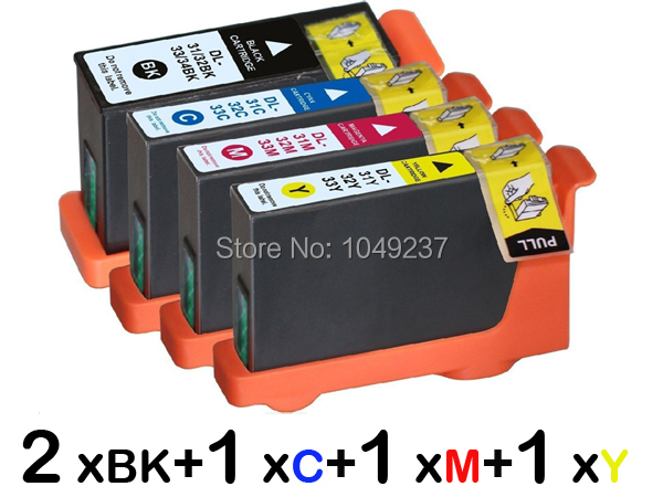 5 ink cartridge (1set+1BK) compatible with Dell 31 32 33 34 for Printer V725W All In One Inkjet Printer(China (Mainland))