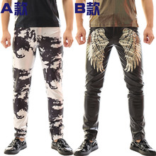 Buy Rock clothing DS Slim punk pants nightclubs DJ performance costumes male singer alternative camouflage leather trousers for $31.92 in AliExpress store