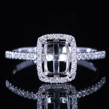 Jewelry Ladies Solid 10K White Gold Pave 0.2ct Natural Semi mount Ring Wedding Ring Cut 7x5mm Cushion retail and wholesale trade(China (Mainland))