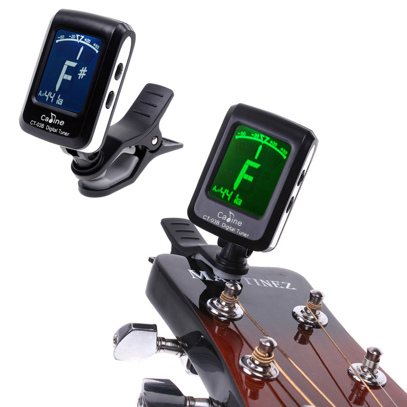Mini Clip-on Clip on LCD Display Guitar Tuner Backlight 360 Degree Rotatable Clip Tuner for Guitar Chromatic Bass Violin Ukulele(China (Mainland))