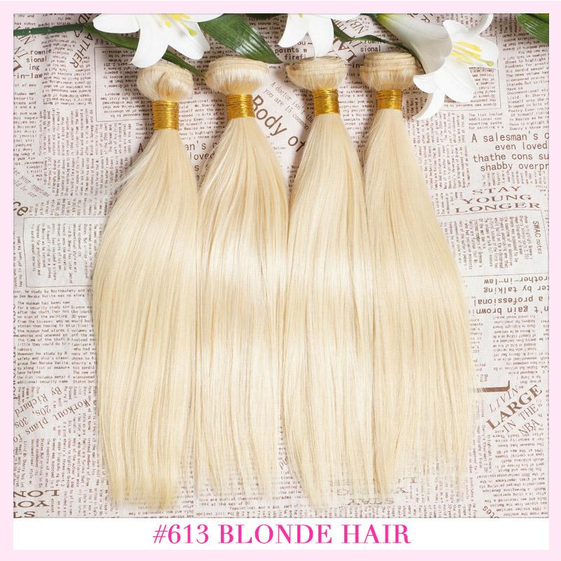 613 Blonde Virgin Hair 3 Bundles 8A Grade Unprocessed Russian Blonde Human Hair Extensions 100% European Virgin Hair Weaves(China (Mainland))