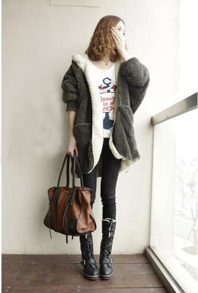 Fluffy Fleece Hoodie Soft Warm Reversible Coats for Women  Free Delivery