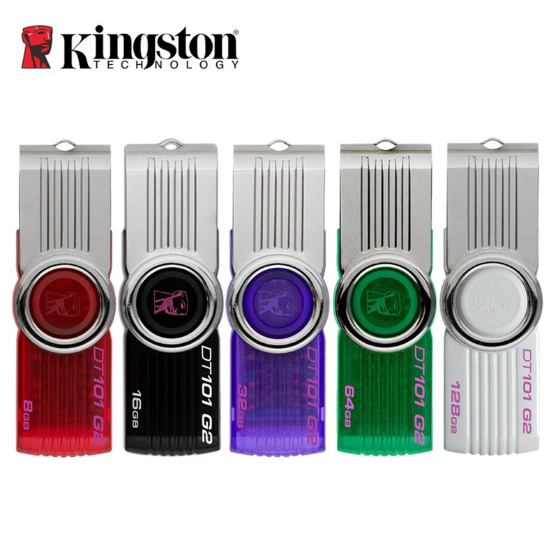 Real Capacity Kingston DT101G2 USB 2.0 USB Flash Drive 8GB 16GB 32GB 64GB Memory Stick Plastic Mental Swivel Pen Drives(China (Mainland))