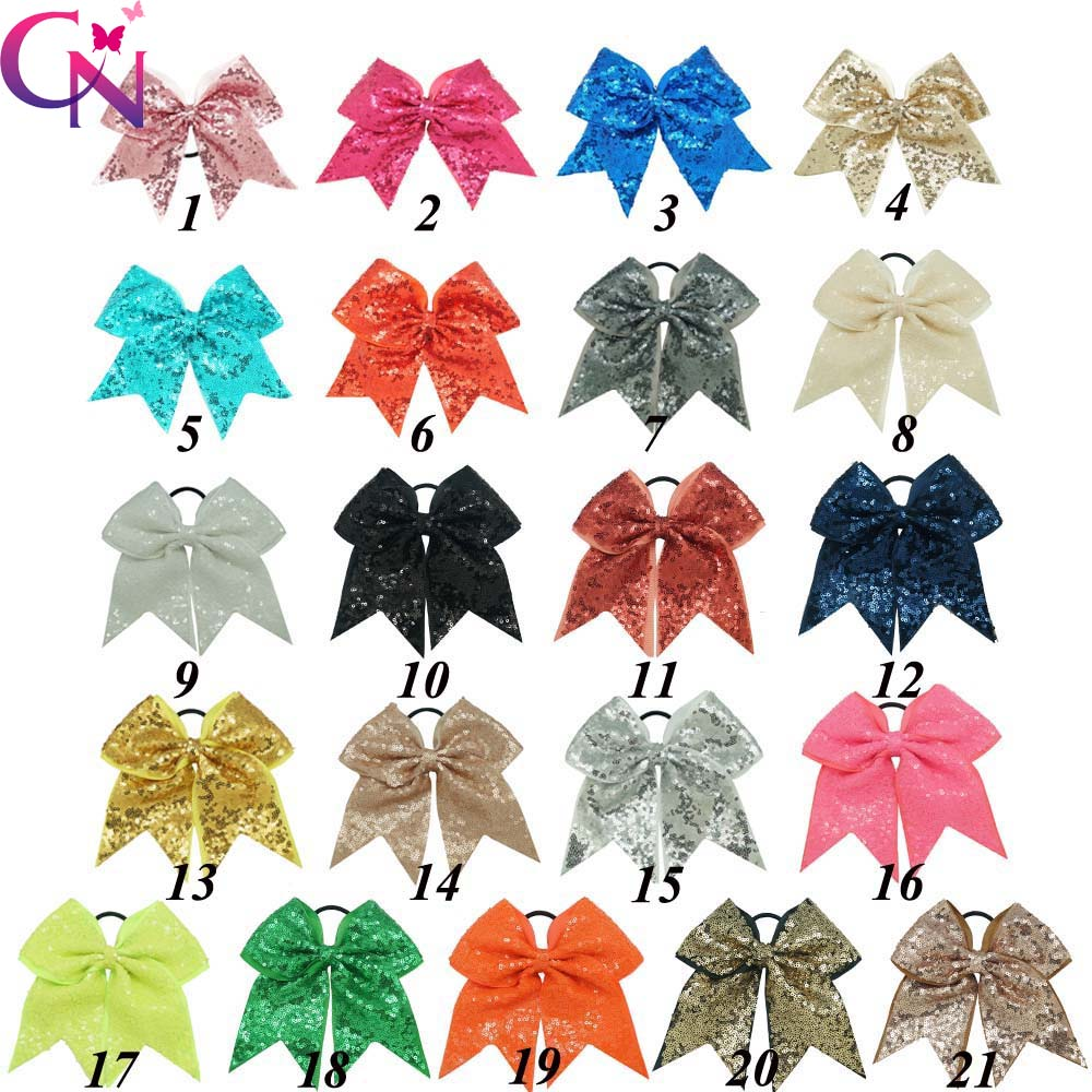 "21 Pcs/lot 8"" Fashion Handmade Sequin Bling Cheer Bows For Girl Children Kids Boutique Sequin Hair Accessories With Elastic(China (Mainland))"