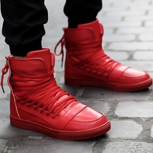 Cool Fashion Personality PU Leather High Top Shoes Mens Hip Hop Rocky Ankle Boots Casual Shoes Lace Tied At Back Trendy Hot Sale(China (Mainland))
