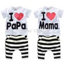 Baby Clothing Sets I love papa mama suit short sleeve sport & leisure suits boy suit baby girl baby pajamas children's sweaters(China (Mainland))